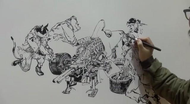 動画下書きなしで繊細なイラストを描くイラストレーターが凄い